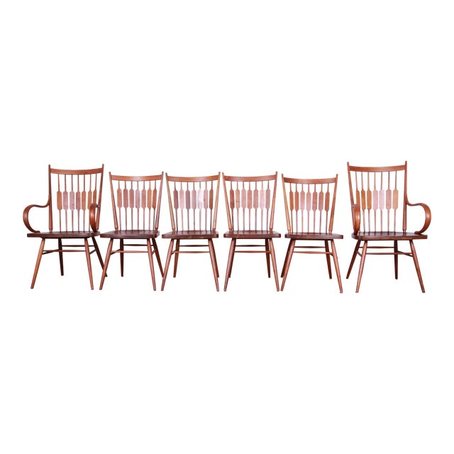 Kipp Stewart for Drexel Declaration Solid Walnut Dining Chairs, Set of 6 For Sale