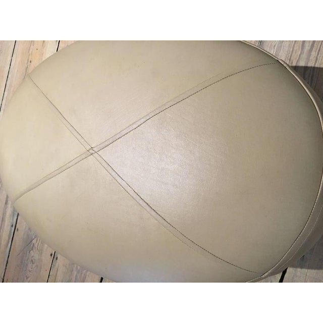 Pair of Mid-Century Modern Leather and Mahogany Ottomans For Sale - Image 4 of 9