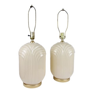 Vintage 80s Art Deco Lamps Waterfall Glass Beige Draped Pair For Sale
