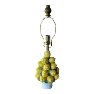 Vintage Italian Ceramic Lemon Lamp Basket Newly Wired Table Lamp For Sale