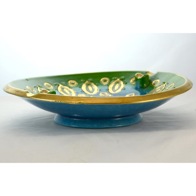 Boho Chic Aqua Bitossi Bowl by Aldo Londi, 1960s For Sale - Image 3 of 6