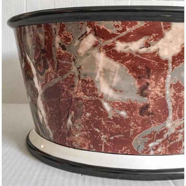 Large Italian Marbleized Ceramic Jardinere Planter - Image 3 of 9