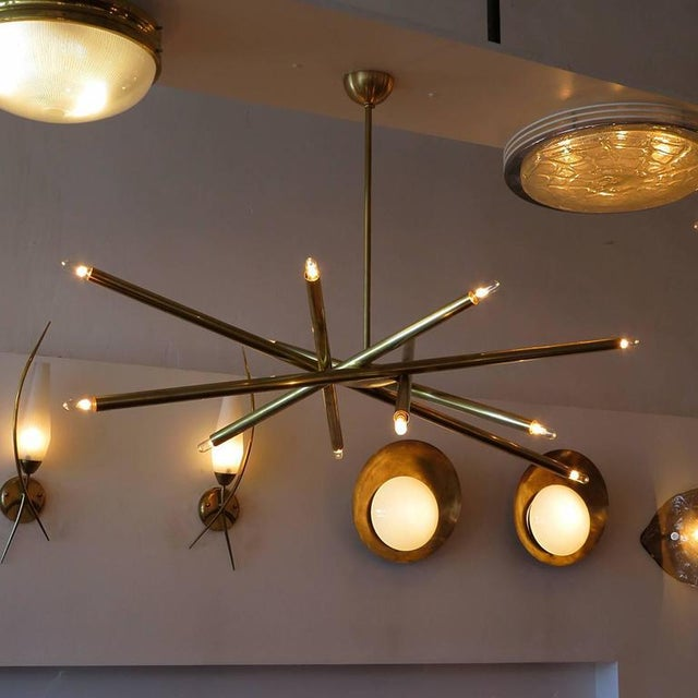 Raw Brass & Spiral Chandelier For Sale - Image 10 of 11