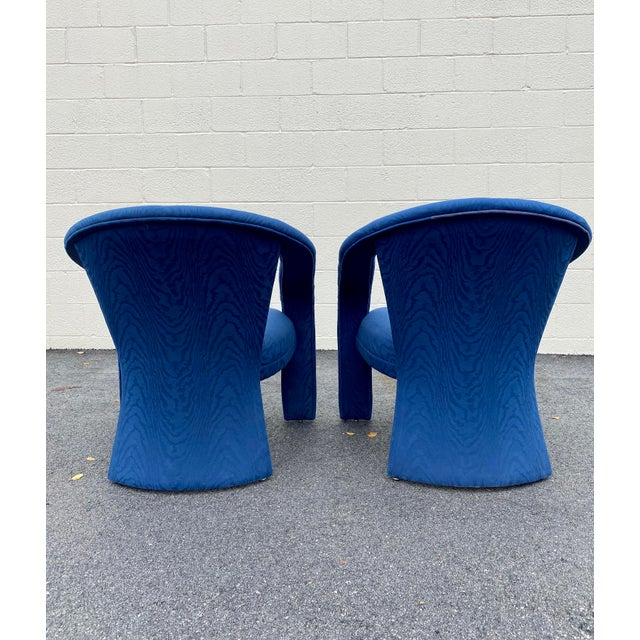 1990s Carson's Blue Upholstred Sculpture Chairs - a Pair For Sale - Image 5 of 12