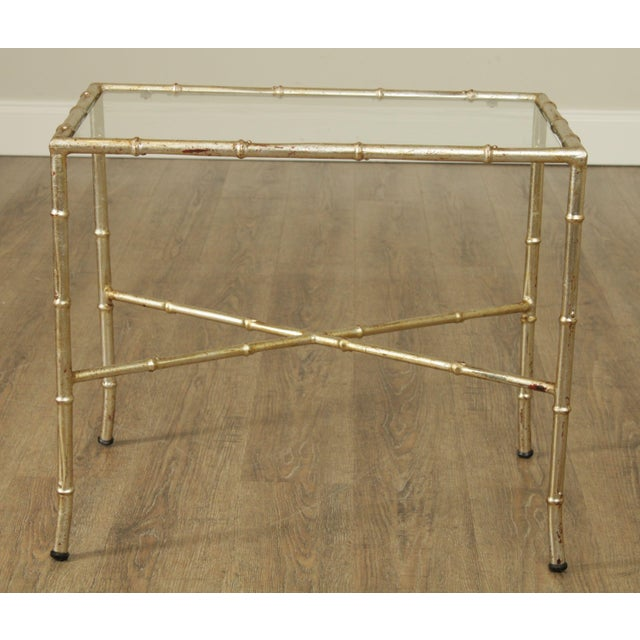 Hollywood Regency Hollywood Regency 1960's Silver Gilt Metal Faux Bamboo Glass Top Side Table For Sale - Image 3 of 11