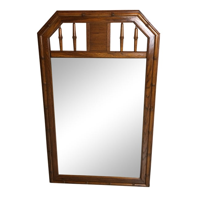 1960s Boho Chic Faux Bamboo Wood Mirror For Sale