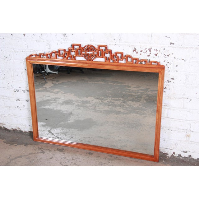 Hollywood Regency Chinoiserie Carved Mahogany Framed Wall Mirror For Sale - Image 4 of 4