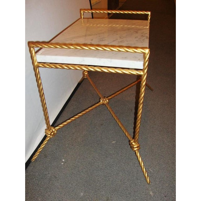 American Rectangular Marble Top Seat Bench With Metal Twist Base Adorning Florets For Sale - Image 3 of 7