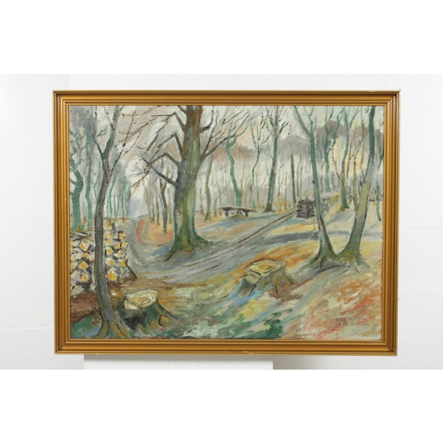 Mid 20th Century Impressionist Forest Landscape by Axel Meyer For Sale - Image 5 of 5