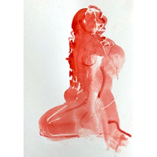 Woman in Red Seated 5, 9x6 For Sale