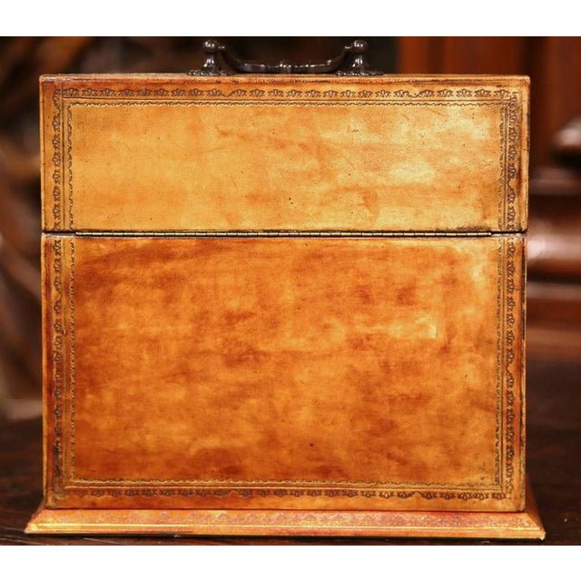 Mid-20th Century Italian Leather & Tooling Letter Holder For Sale - Image 9 of 9