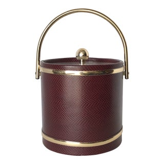 Vintage Polished Brass and Faux Lizard Skin Ice Bucket For Sale