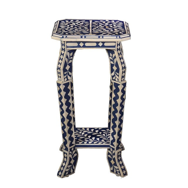 2020s Imperial Beauty Telephone Table in Indigo/White For Sale - Image 5 of 5