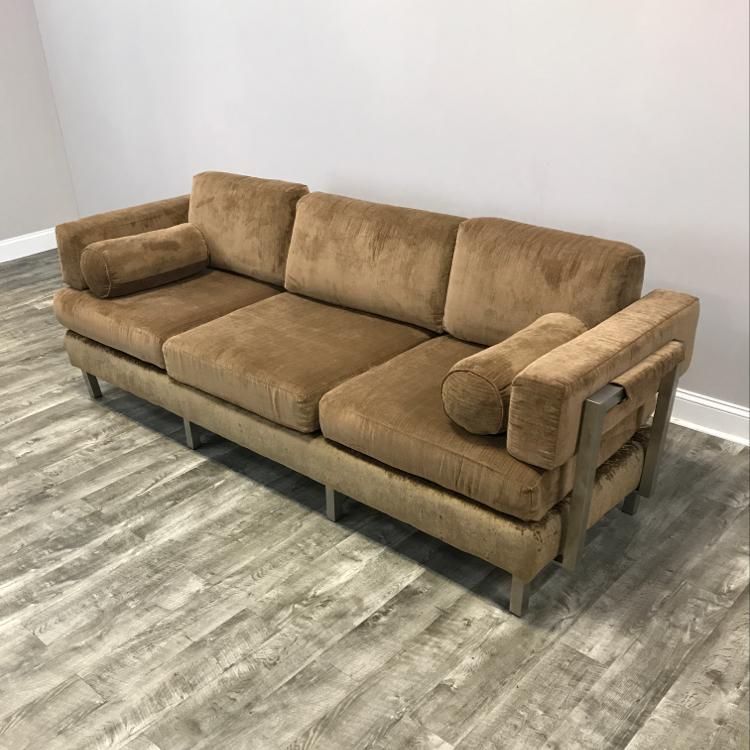 Mid Century Modern Todd Oldham Tan Modular Snap Sofa For Sale   Image 3 Of