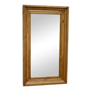 Blonde Tone Pine Framed Mirror For Sale