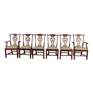 1990s Vintage Maitland Smith Chippendale Mahogany Dining Chairs - Set of 6 For Sale