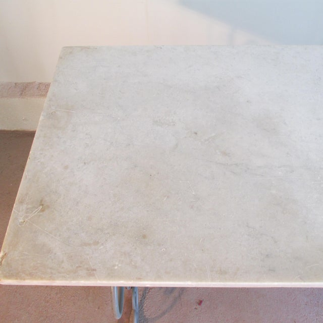 Antique French Garden Console Table With Marble Top For Sale - Image 9 of 13