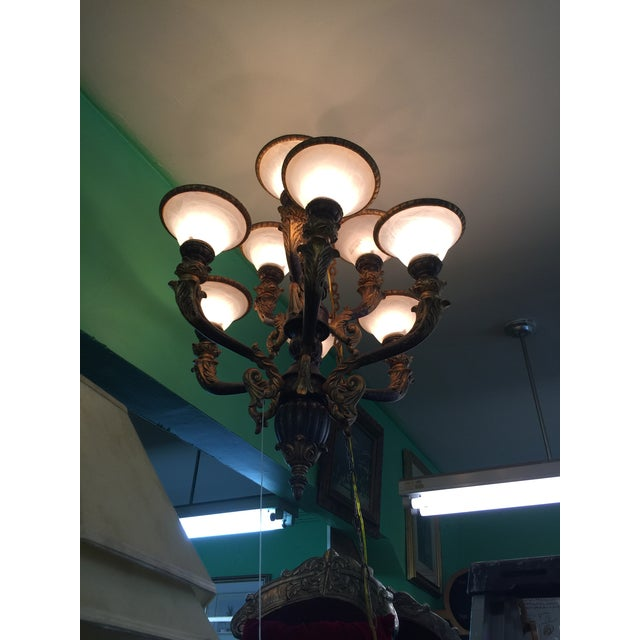 Italian Baroque Chandelier With Alabaster Shades For Sale - Image 10 of 11