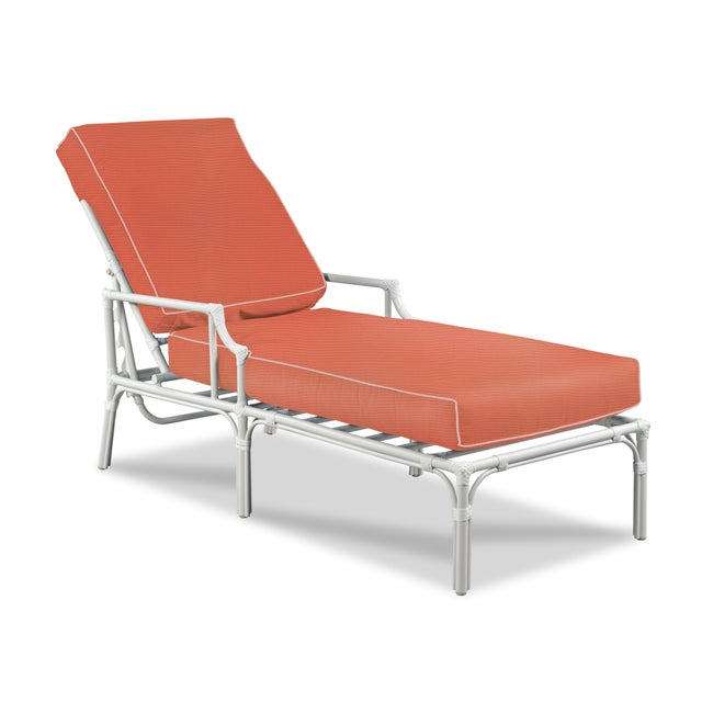 Traditional Haven Outdoor Chaise, Melon and Blush For Sale - Image 3 of 3