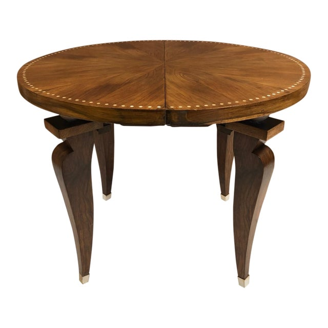 1930s French Art Deco Adjustable Table. The table is walnut with bone inlay to the top and the sabots are bone as well....