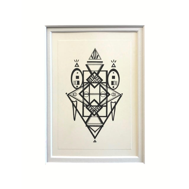 """This 5""""x7""""original geometric Ink drawing, is mounted to 9""""x11"""" - And fits in a 8""""x10"""" frame. It was made in 2019, using..."""