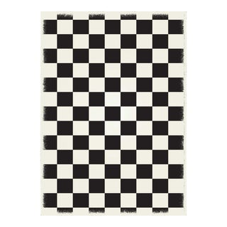 Black & White English Checkered Rug - 5' X 7'