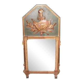 18th Century French Louis XVI Painted and Giltwood Armorial Trumeau Mirror For Sale