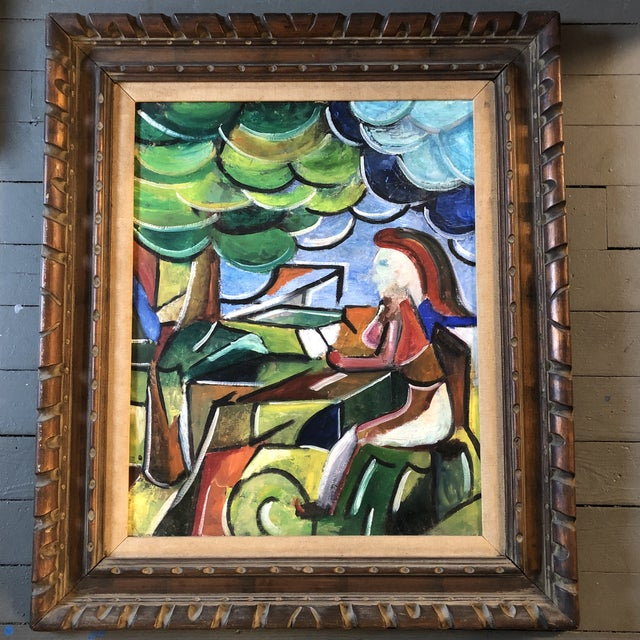 Original Modernist Figure in Landscape Painting Framed For Sale - Image 9 of 9