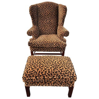 1980s Vintage Animal Print Wingback Chair and Ottoman For Sale