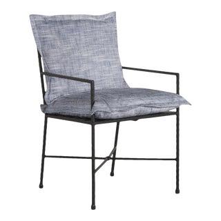 Summer Classics Italia Arm Chair in Faded Linen Indigo For Sale