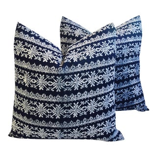 "Indigo Blue & White Batik Feather/Down Pillows 22"" Square - Pair For Sale"