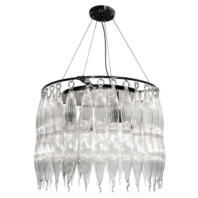 Tassels Clear Murano Glass Chandelier on a Chrome Base For Sale