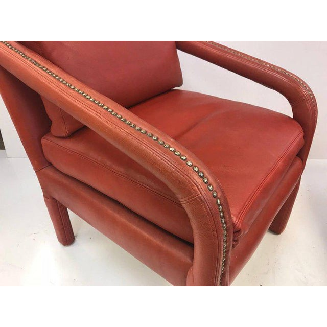 Gilbert Rohde Leather Lounge Chair and Ottoman Style of Gilbert Rohde For Sale - Image 4 of 8