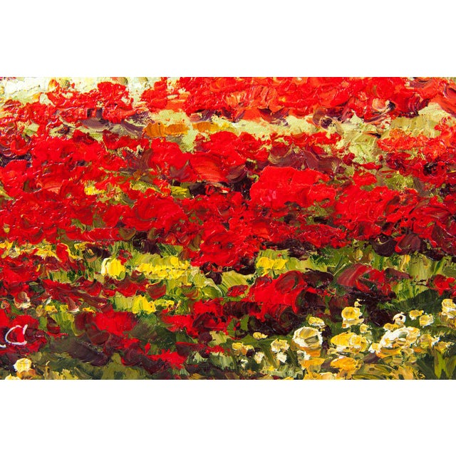 Mid-20th Century Floral Field Wood Framed Oil Painting For Sale In New York - Image 6 of 13