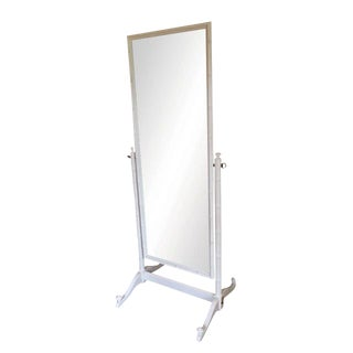 1960s Henry Link Faux Bamboo Cheval Free Standing Mirror Newly Lacquered White For Sale