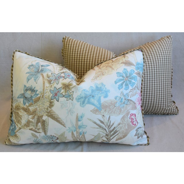 "Cowtan & Tout Floral Linen Feather/Down Pillows 26"" X 18"" - Pair For Sale - Image 11 of 13"