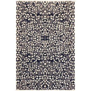 Ellie Modern Tamala Blue/Ivory Wool & Viscouse Rug - 4'0 X 6'3 For Sale