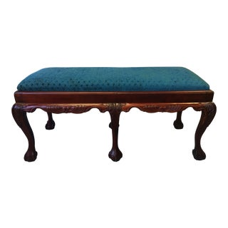 Antique Turn of the Century English Chippendale Claw and Ball Foot Mahogany Bench For Sale