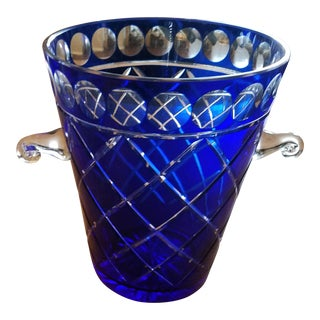 Cobalt Blue Bohemien Cut Crystal Ice Bucket