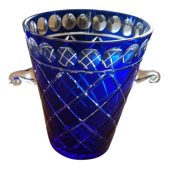 Cobalt Blue Bohemien Cut Crystal Ice Bucket For Sale