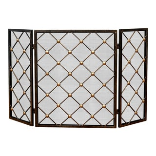 Late 20th Century Contemporary Iron and Brass Tri-Fold Fire Screen For Sale