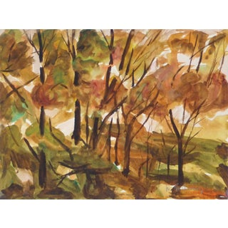 M. Guillaumey, French Watercolor Forest Landscape For Sale
