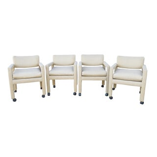 1970s Vintage Milo Baughman for Thayer Coggin Dining Armchairs - Set of 4 For Sale