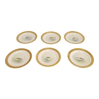 1930s Vintage WH Morley Hand Painted Ovingtons Lenox Gold Encrusted Fish Plates- Set of 6 For Sale