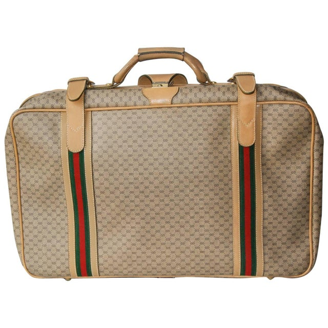 1970 Gucci Leather and Fabric Logo Suitcase With Brass Insignia For Sale - Image 11 of 11