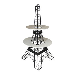 4' Foot Tall Mid-Century Two-Tier Eiffel Tower Brass Sculptural Cocktail Table For Sale