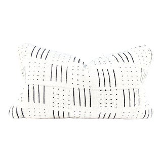 Lines Ivory Mudcloth Lumbar Pillow For Sale