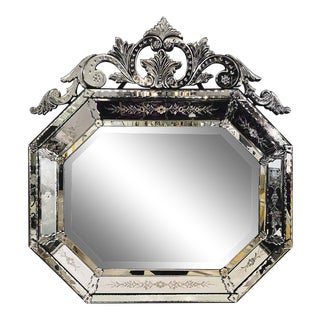 Venetian Style Beveled Wall Mirror With Floral Etched Glass Over the Mantle For Sale