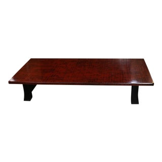 Japanese Red Lacquer Coffee Table With Black Legs For Sale