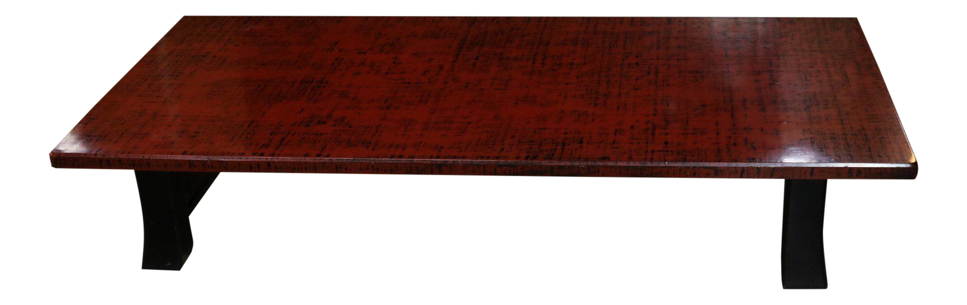 Japanese Red Lacquer Coffee Table With Black Legs